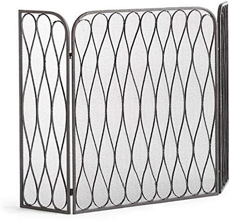 暖炉用品・アクセサリ 3つのパネル折り畳み式の鍛造アイアン火画面、赤ちゃんの安全のための屋内屋外の大型鋼スパークガード暖炉フェンス、50.4×35.4inch (Color : Black)