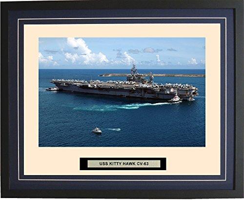 - Navy Emporium - USS Kitty Hawk CV-63 - Framed - Photo - Engraved Ship Name - Double Mat - Photograph - 16 X 20 - 137CV63Blue