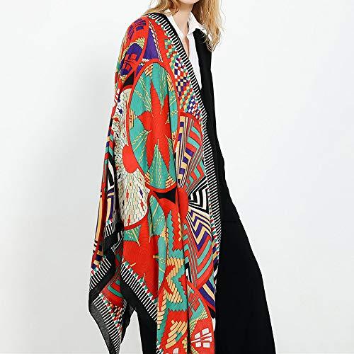 MAGA 1 Women Scarf Cotton Tassel Scarves Retro Vintage Cashmere Warm Shawl for Lightweight Flower Pattern Cotton Long Neck Scarf F10