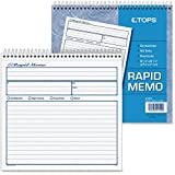 """TOPS Rapid Memo Book - Spiral Bound - 2 Part - Carbonless - 7.75"""" x 8.50"""" Sheet Size - Assorted - 1Each"""