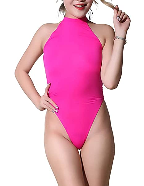 1fb76c8ef LinvMe Women s Sexy Thong Leotard High Neck High Cut Sleeveless Sheer  Bodysuit S Pink
