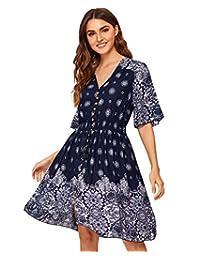 Milumia - Vestido de Fiesta para Mujer, diseño Floral con Botones