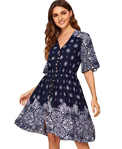 Milumia Women's Boho Button Up Split Floral Print Flowy Party Dress Multicolor-14 XL -