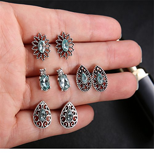 Dolland 4 Pairs Boho Stud Earrings Set Vintage Round Beads Earring Vintage Earrings for Women,Silver3,As description