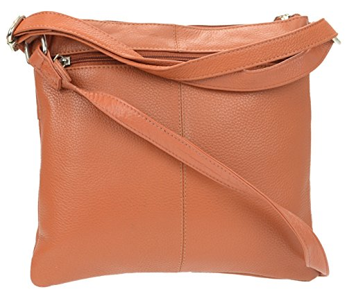 Crossbody Leather Genuine Multi amp;R R Cognac Bag Pockets Leather Women's xqIw0x6fT