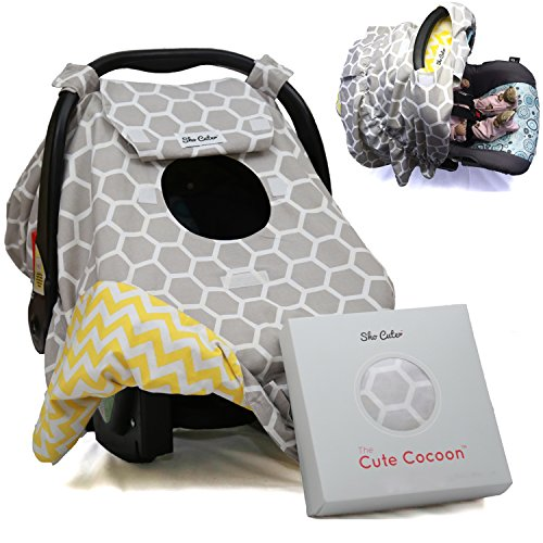 Sho Cute - [Reversible] All-Weather Carseat Canopy | Multi-Use Car Seat Covers | Unisex Grey Honey Comb & Yellow Chevron | Nursing Cover | Universal Fit | Baby Gifts Boy or Girl -Patent Pending (Car Seat Canopy Cover Purple compare prices)