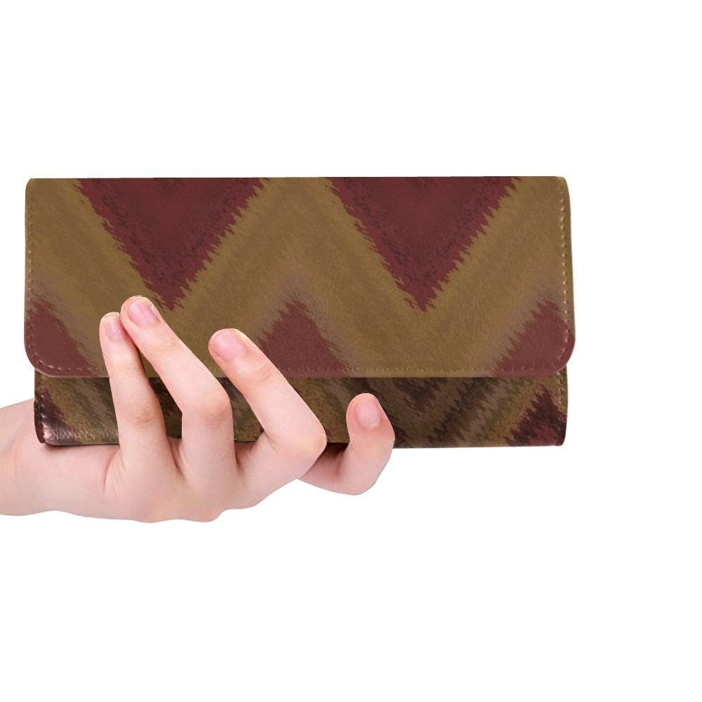 Unique Custom Texture Pattern Textures Brown Women Trifold Wallet Long Purse Credit Card Holder Case Handbag by KNEVFLOW