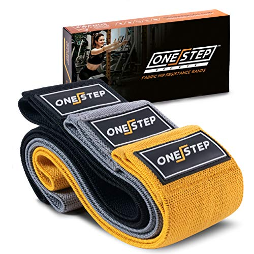 Booty Resistance Hip Bands Set of 3 - Non-Roll Hip Resistance Fabric Bands for Legs and Booty Workout - Train Anywhere with ONESTEP Wide Cloth Anti-Slip Glute Exercise Bands, Women & Men ()