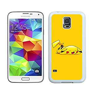 Pokemon Popular Cute and Funny Pikachu 24 White Individual Custom Samsung Galaxy S5 I9600 Case