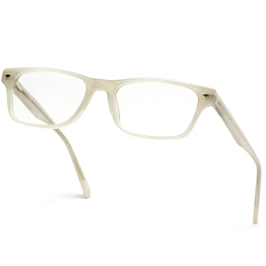 175d2139360 WearMe Pro -Rectangular Acetate Optical Frame Flex Hinge Glasses (Beige  Frame)