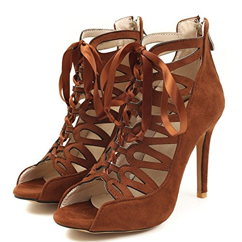 RAZAMAZA 5 Sandales Bottines Talons Femmes Ete Lacets Brown TxTAwqr6n