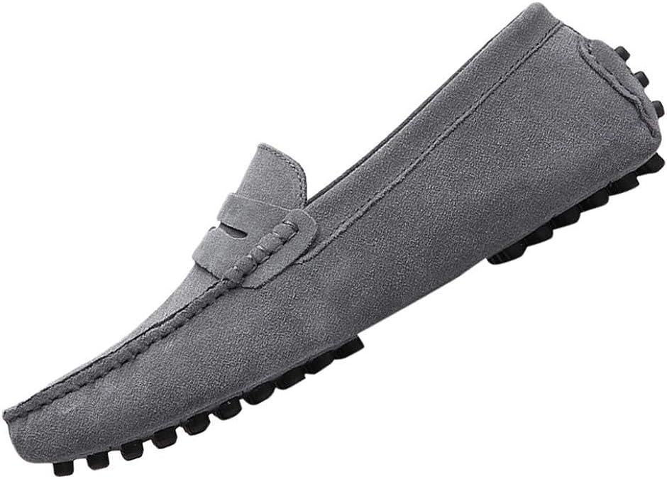 ZHANSANFM Herren Wildleder Mokassin Bootsschuhe rutschfeste Atmungsaktive Faule Schuhe Retro Halbschuhe Leichte Outdoor Mode Erbsen Schuhe Gr.38 48