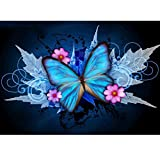5D Diamond Painting Kit Full Drill DIY Rhinestone Embroidery Cross Stitch Arts Craft for Home Wall Decor Maple Leave Butterfly 12x16 inch