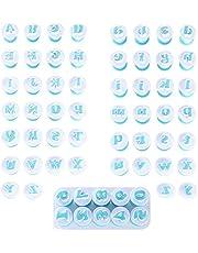 Heiqlay Spring Biscuit Mould, Nummermallen voor Chocolade, Lettervormen voor taartdecoratie, Fondant Cutters Sets, 26 hoofdletters, 26 kleine letters, 10 cijfers, voor fondant, cake, biscuit