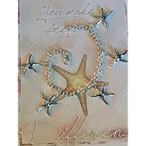 You Make a Profound Difference Card Gift Set, .925 Sterling Silver Plated Starfish Charm Bracelet - Show Admiration Sales