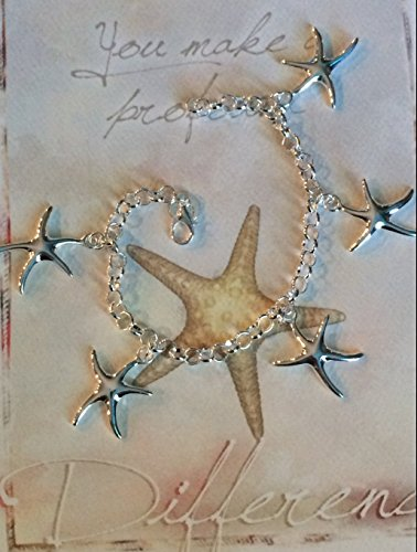 Starfish Charm Bracelet Gift Set - You Make a Profound Difference Thank You Card - Show Admiration, Gratitude, Appreciation or Encouragement (Teacher, Mentor, Sister, Mother, Friend)