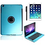 iPad Mini Keyboard Case, BoriYuan Bluetooth Wireless Keyboard Folio Flip Smart Cover For Apple iPad Mini 3/ iPad Mini 2/ iPad Mini 1 with Folding Stand and Auto Sleep/Wake Function, Blue