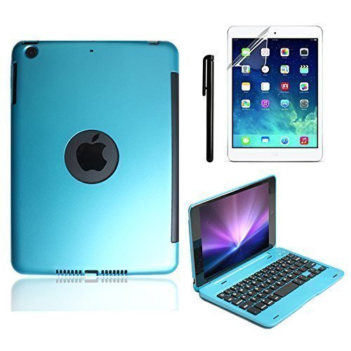 iPad Mini Keyboard Case, BoriYuan Bluetooth Wireless Keyboard Folio Flip Smart Cover for Apple iPad Mini 3/ iPad Mini 2/ iPad Mini 1 with Folding Stand and Auto Sleep/Wake Function, Blue (Anker Ipad Mini 3 Case)