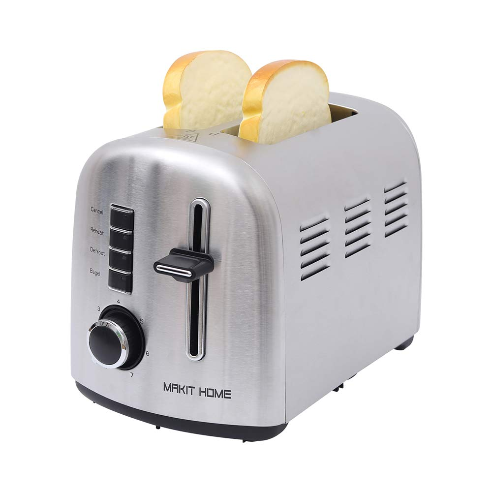 2 Slice Toasters,Toasters 2 Slice Best Rated Prime Toaster,Stainless Steel Retro Extra Wide Kitchen Toaster,Top Rated Best Prime Mini Bread Toasters Oven with 7 Shade Settings,Removable Crumb Tray by Amstech