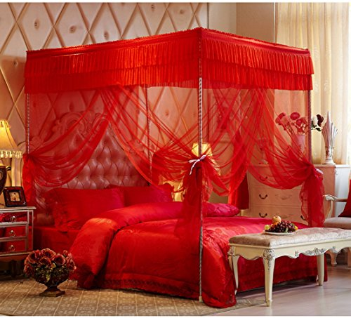 KingKara Red Festival Wedding Luxury Four Post Bed Curtain Canopy Mosquito Netting With Frame Twin XL Full/Queen California King Size (California King)