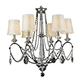 Worldwide Lighting Innsbruck Collection 6 Light Chrome Finish and Clear Crystal with Ivory Shade Chandelier 26″ D x 27″ H Large Review