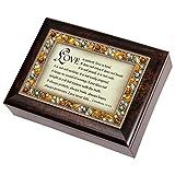 Cottage Garden I Corinthians 13:4-6 Italian Style Burlwood Finish Jewel Lid Music Jewelry Box Plays Amazing Grace