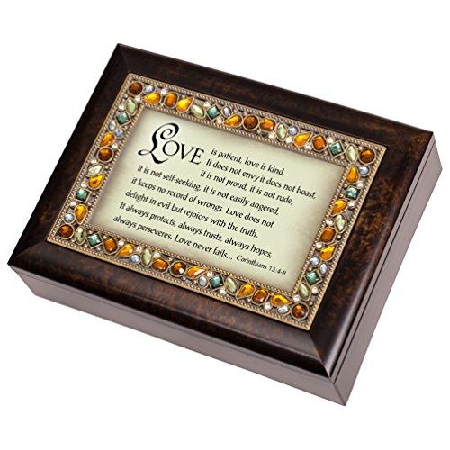 Kind Music Box (I Corinthians 13:4-6 Italian Style Burlwood Finish Jewel Lid Music Jewelry Box Plays Amazing Grace)