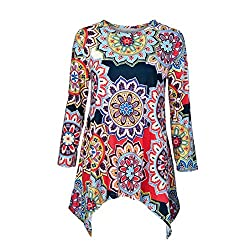 Uribake Fashion Women Casual O Neck Floral Print Three Quarter Sleeve Ladies Shirt Blouses Tops Tee
