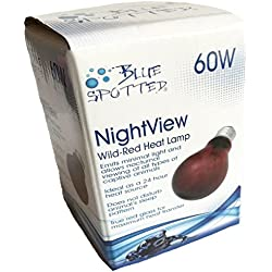 Blue Spotted NightView Wild-Red Heat Lamp Ideal As A 24 Hour Heat Source for Your Pet Reptiles and Amphibians! (60 Watt)