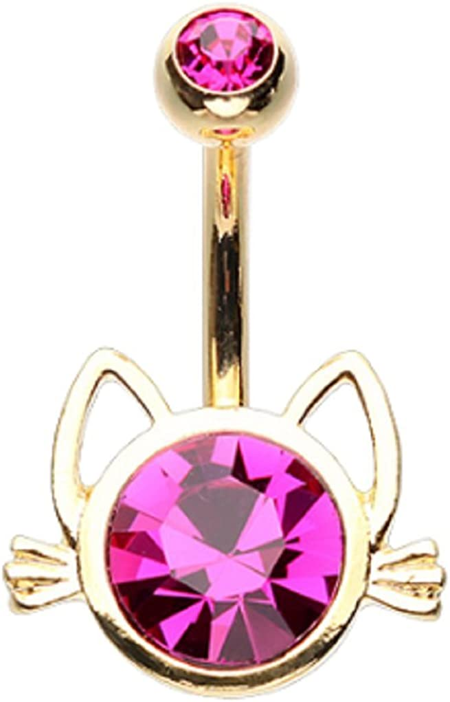 Sold Individually Rose Gold I Love You Sparkle 316L Gold Plated Steel Freedom Fashion Belly Button Ring