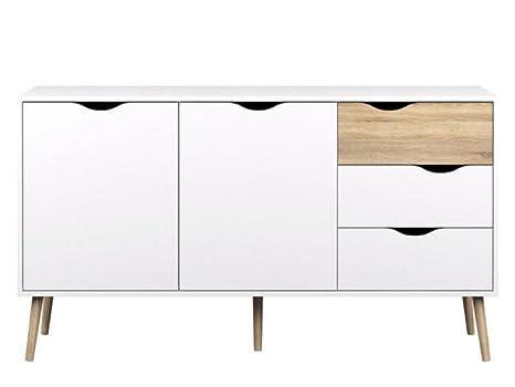 Ikea Credenza Rovere : Esidra credenza in laminato bianco e rovere amazon casa
