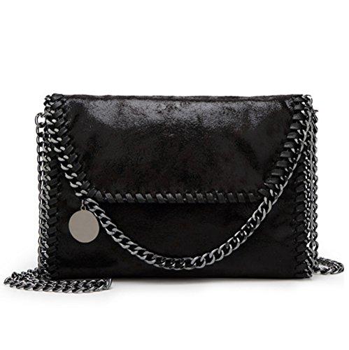 bolso de cuero bolsos cadena cruzados embragues bolso de de de bolso de PU la correa de mujer metálica Valleycomfy elegante negro hombro bolsa 7qTOPxqwn