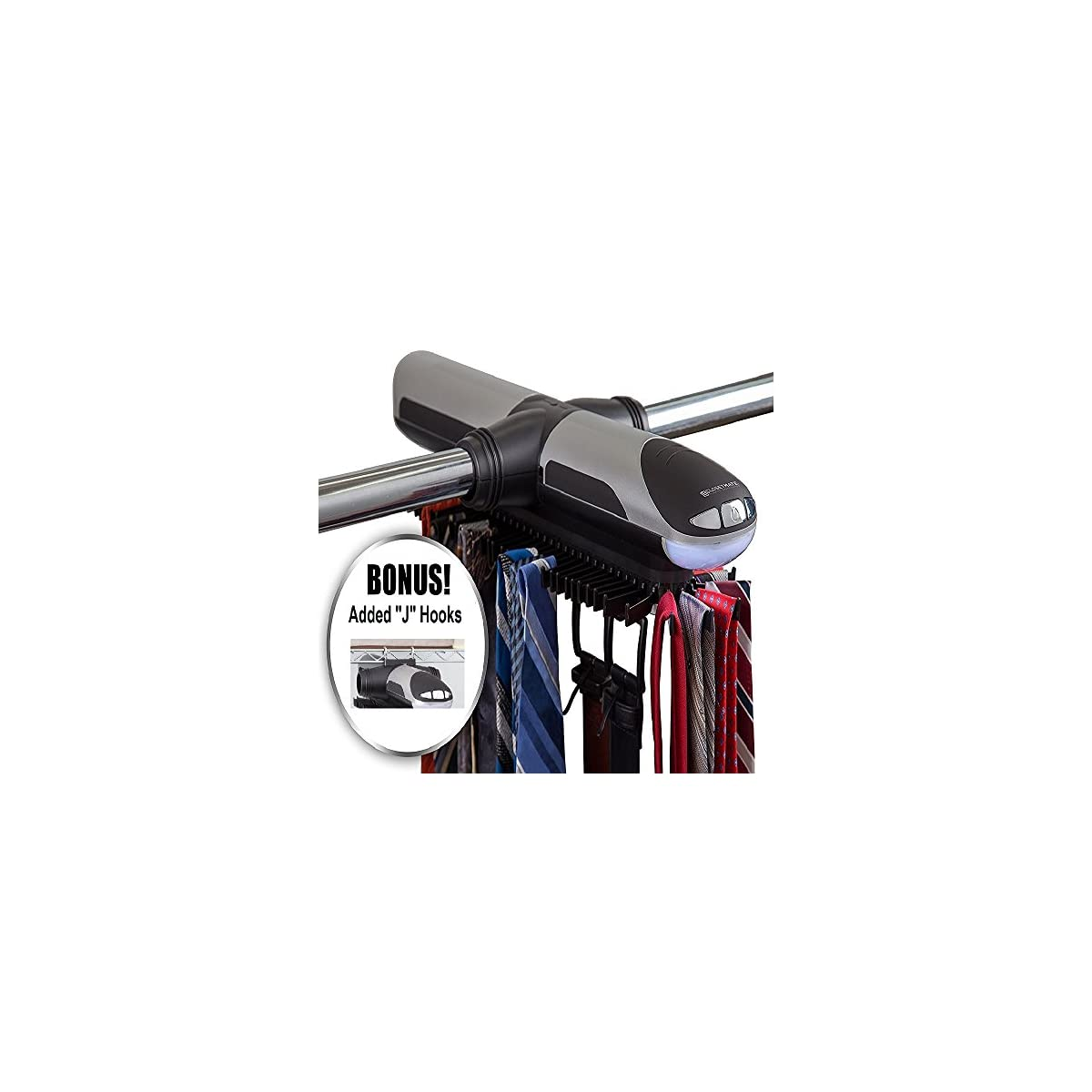Bottom Hooks for Belts /& Other Accessories Holds 72 Ties and 8 Belts Automatic Tie Rack Rotates Forwards /& Backwards Tech Tools Motorized Revolving Tie and Belt Rack with Built in LED Light