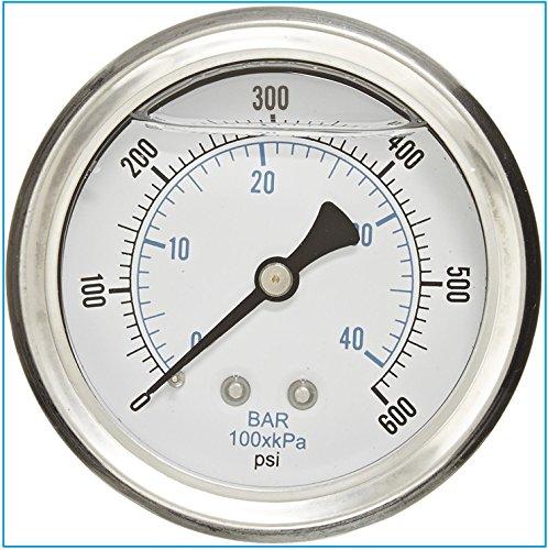 600 Psi Pressure Gauge - Liquid Filled Pressure Gauge, 2.5