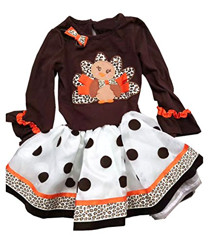 Little Turkey Baby Costume (Baby Little Girls Thanksgiving Dress Turkey Brown Party Costume)