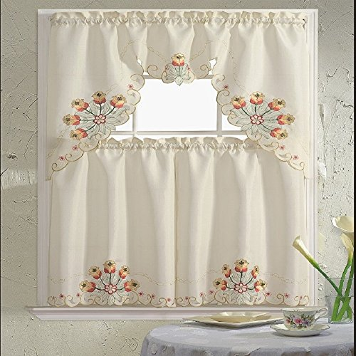Home Embroidered 3 Piece Kitchen Treatment product image