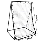 TelDen Pitch Back Screen Baseball/Soccer Rebounder Lacrosse Hockey Pitch Back With Strike Zone Softball Pitching Passing Throwing Catching Practice Trainer Adjustable Angle 44 x 64inch (US Stock)