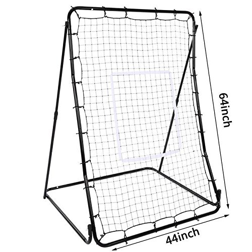 OPLON 44 x 64inch Pitch Back Screen Baseball/Soccer Rebounder Lacrosse Hockey Pitch Back With Strike Zone Softball Pitching Passing Throwing Catching Practice Trainer Adjustable Angle (US Stock) by OPLON