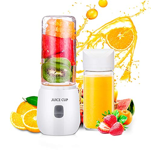 Portable Blender, USB Rechargeable Multifunctional Small Personal Blender for Shakes, Smoothies and Baby Food Travel Juice Cup with 6 Stainless Steel Blades, FDA BPA Free