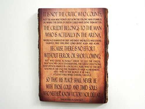 Theodore Roosevelt - Man in the Arena - Quote on Wooden Plaque - Wood Sign by WoodSnacks (Image #5)