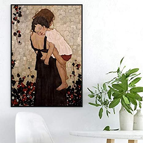 STAMONY Gustav Klimt Poster und Drucke Eine Mutter mit einem Kind-/Ölgem/älde auf Segeltuch for Wohnzimmer Wohnkultur Leinwand-Malerei Moderne Kunst Size : No Frame 30x40 cm Inch