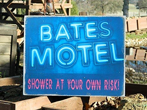 weewen Halloween Prop Country Primitive Distressed 11.5 X 14.5 Bates Motel Shower at Your Own Risk Wooden Plaque Sign Distressed Home Decoration Wall Sign]()
