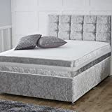 Silver Divan Bed with Orthopaedic Mattress, Headboard (5ft Kingsize) - 2 Drawers - Crushed Velvet
