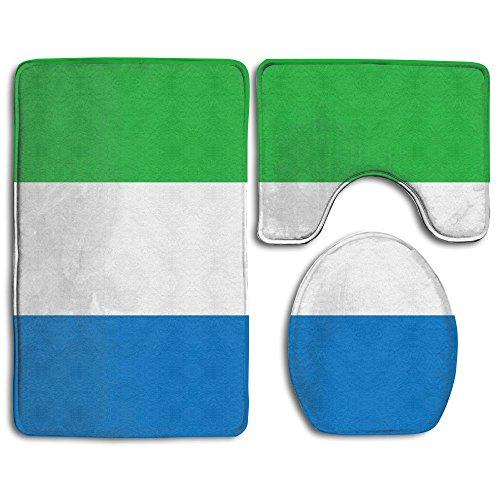 TO-JP Flag Of Sierra Leone 3 Piece Set Soft Flannel Bathroom Rug U Contour Mat Lid Toilet Cover Non-slip (Flannel Sierra)