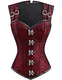 Women's Steampunk Brocade Corset Top Hourglass Steel Boned Overbust Bustier Vest