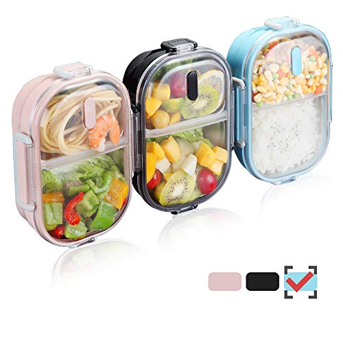 WORTHBUY 2 Compartments Bento Lunch Box with Fork and Spoon, Insulated Stainless Steel Portion Control Lunch Containers for Kids and Adults, 100% Leakproof and Keep Food Separated(Blue)