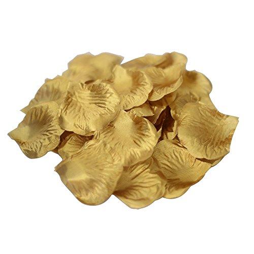 JUYO VONSAN Artificial Rose Petals Wedding Flowers Favors 500PCS (Gold)