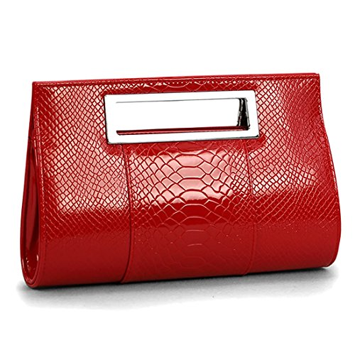 SSMK Leather Clutch Bag, Poschette giorno donna rosso Red