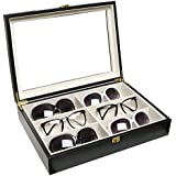 Luxurious Black Eyeglasses / Sunglasses Storage Organizer Display Case Box w/ Leatherette Trim - MyGift