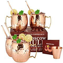 A29 100% Pure Solid Copper Mugs for Moscow Mule Cocktail - Pure Unlined 16 Ounce Copper Mugs Set of 4 - 4 Copper Straws + 1 Shot Glass + 1 Recipe Booklet Included - Gift Box PackingBeautiful Handcrafted Copper Mugs set for the amazing Moscow ...